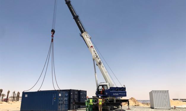 Azelio's TES.POD® arrives on site at Dubai's MBR solar park